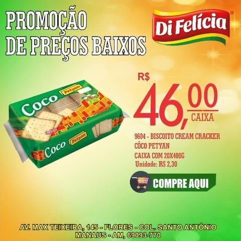 Promoção!! Biscoito cream cracker petya côco caixa com 20x400g