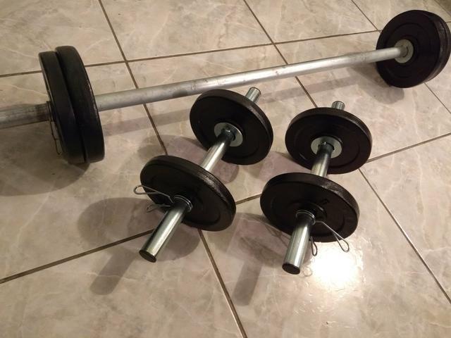 099d49763 Kit Musculação (Barras halter + 30kg de anilhas) - Esportes e ...