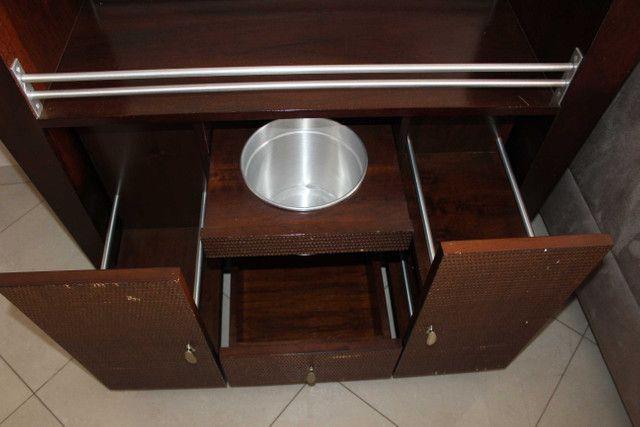 Bar / Buffet c/ 3 Gavetas / 1 Balde para gelo  e Rodas / em Vidro / MDP Marrom 92 cm x  1 - Foto 5