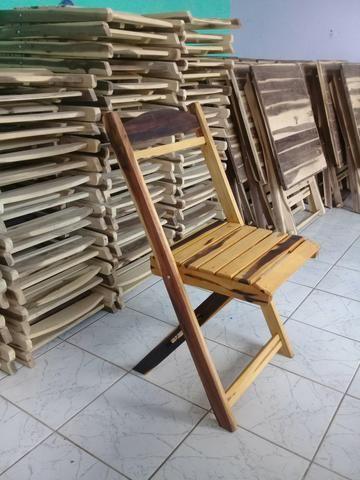 Mesa madeira dobrável 70x70 4 cadeiras - Foto 3