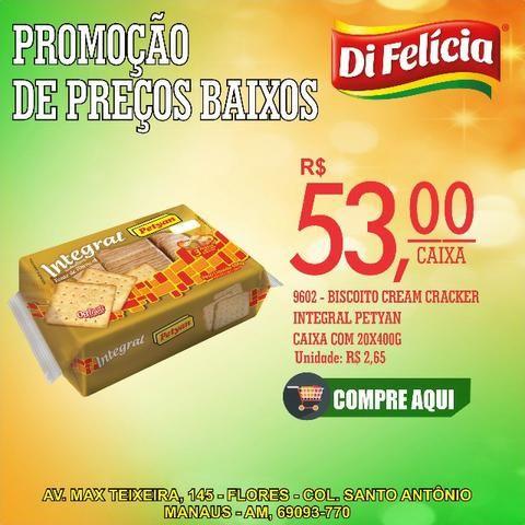 Promoção!! Biscoito cream cracker integral petyan caixa com 20x400g por R$ 53,00