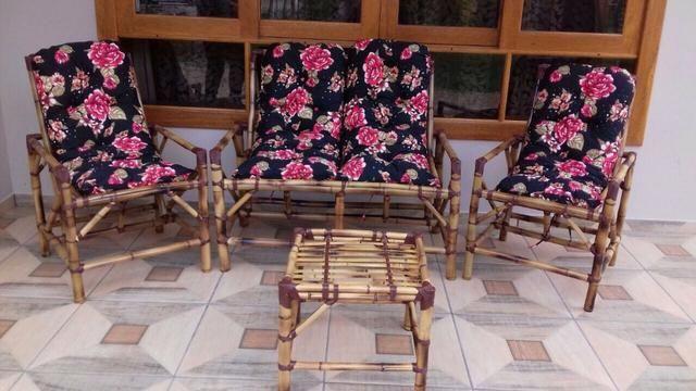 Jogo completo de móveis de cana da india com almofadas
