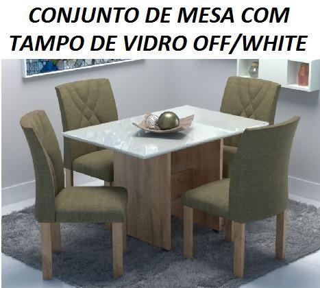Belissimo Conjunto de Mesa Com Tampo de Vidro Off/White(Nova)Com Otimo Preço Apenas 1390,0