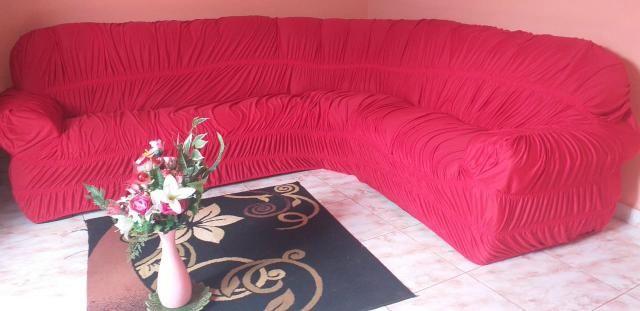 Capa de sofá de canto elasticada