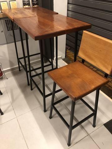 Mesa e bancos de aço e madeira de 4cm - Foto 3