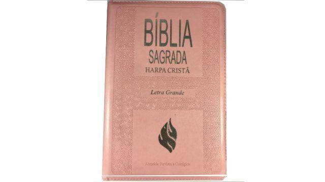 Bíblia Feminina Mulher Com Harpa Crista Letra Grande Ziper - Foto 2