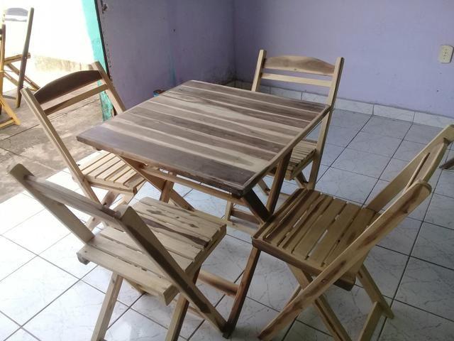 Mesa madeira dobrável 70x70 4 cadeiras