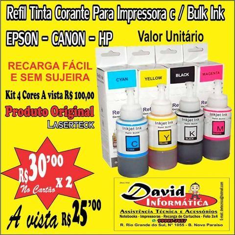 Tinta Corante para Impressora com Bulk Ink / Epson / Canon / HP - Qualidade Fotográfica