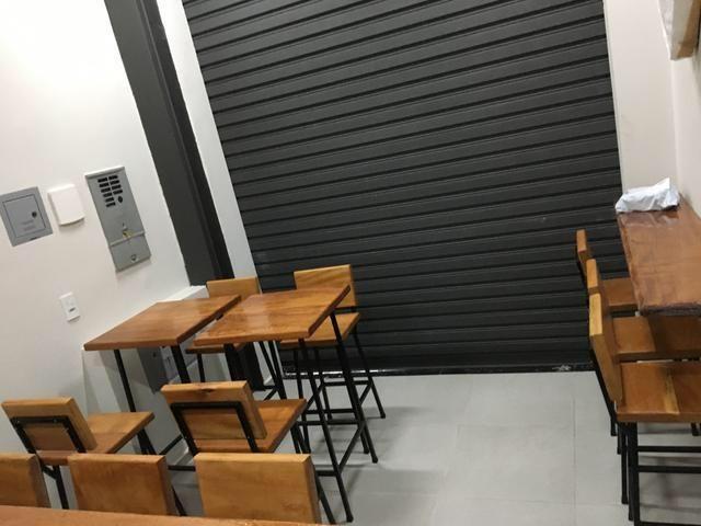 Mesa e bancos de aço e madeira de 4cm - Foto 2