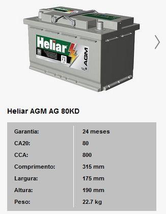 Bateria Para Carro Heliar Tenologia AGM de 80 AH com 2 Anos de Garantia - Foto 2
