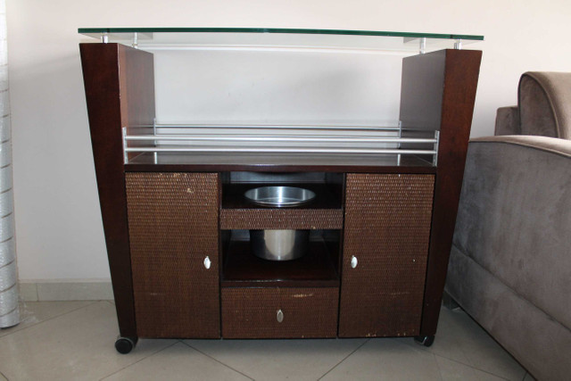 Bar / Buffet c/ 3 Gavetas / 1 Balde para gelo  e Rodas / em Vidro / MDP Marrom 92 cm x  1 - Foto 4
