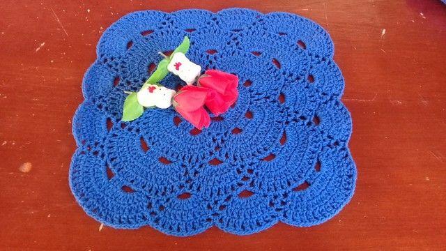 Sousplat quadrado de crochê  - Foto 5