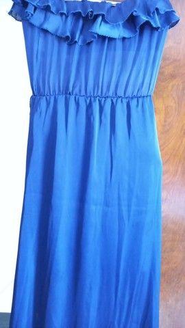 Vestido azul marinho em musseline  - Foto 6