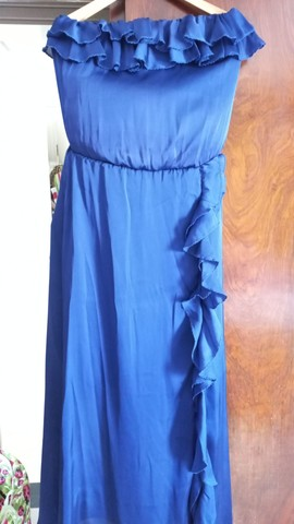 Vestido azul marinho em musseline  - Foto 4