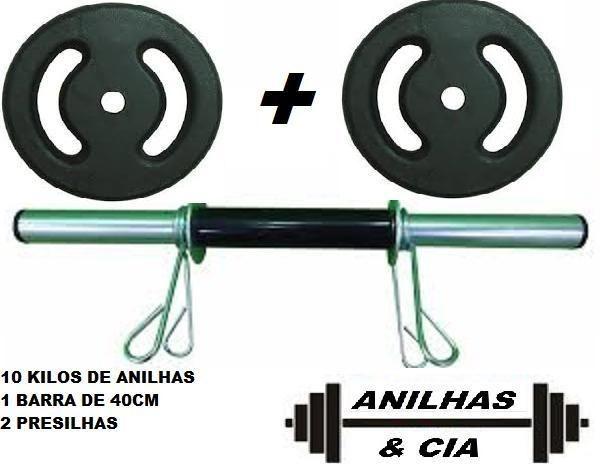 112dfc2b0 Barra 40cm oca tubular + 10kgs de anilhas ferro fundido pesos academia  fitness