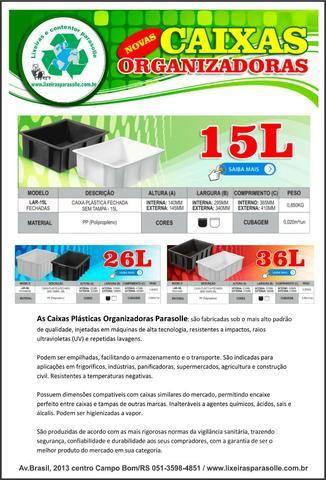 Caixas plástica organizadora 15lts na cor preta - Foto 3