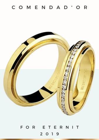 Aliança de casamento, em ouro 18k, em até 12x no Cartão Premium!!