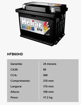 Bateria Para Carro Heliar Tenologia EFB de 60 AH com 2 Anos de Garantia - R$570,00 - Foto 2