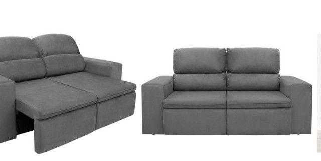 Sofa 3 lugares modelo com chaise dos dois lados. Cinza chumbo.  - Foto 6