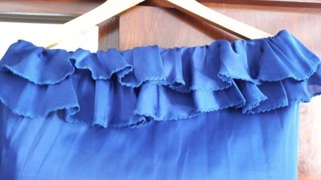 Vestido azul marinho em musseline  - Foto 5
