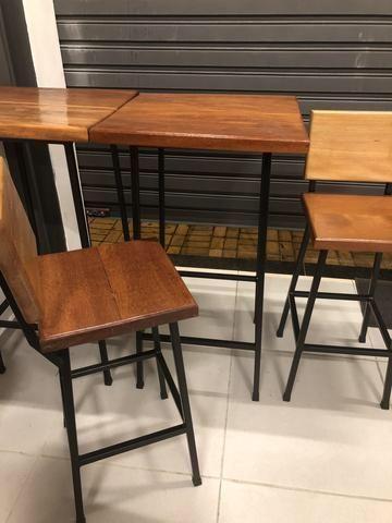 Mesa e bancos de aço e madeira de 4cm - Foto 4