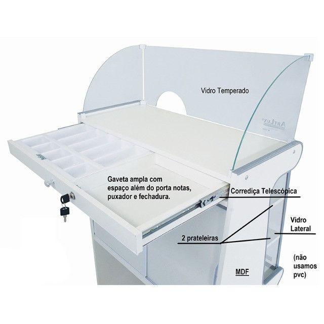 Balcão caixa Artlux preto ou branco 80cm Novo Frete Grátis - Foto 4