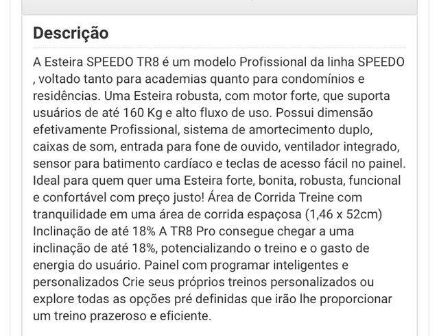 Esteira Elétrica SPEEDO TR8 PRO  - Foto 6