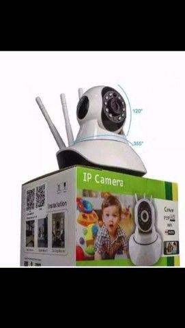 Câmera Ip Sem Fio 360 3 Antenas HD WiFi RJ45 Visão Noturna