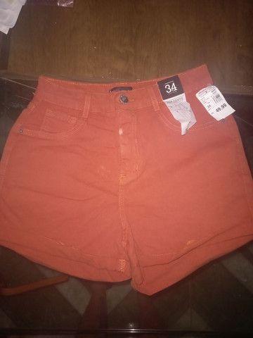Short cintura alta laranja
