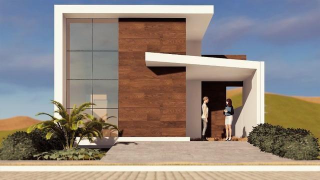 Casa com linda fachada, com 3 quartos, em fase final de acabamento