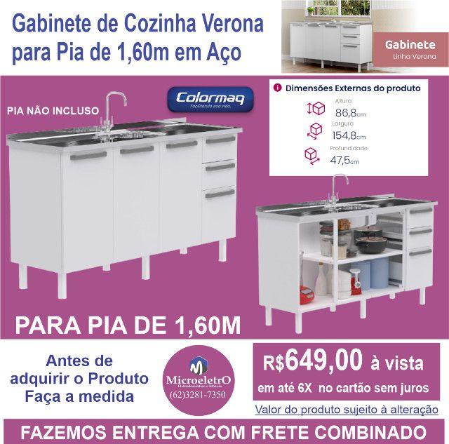 Gabinete de Cozinha Colormaq verona para Pia  de 1,60m em Aço