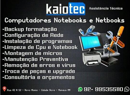 Assistência em Computadores e Notebook Formação Instalação de programas Troca de peças