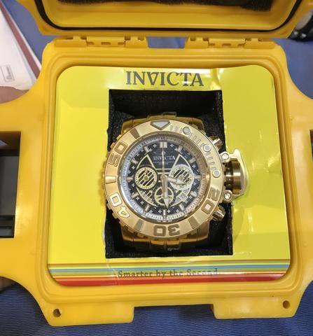 Relógio invicta lançamento Sea Hunter B. ouro 18k