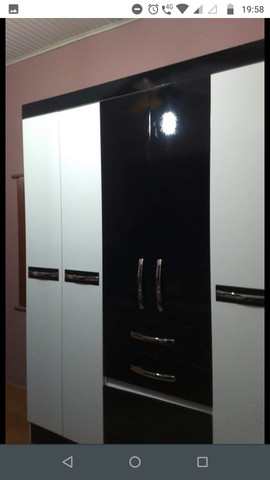 Guarda-roupa Casal 6 portas - 2,05m x 1,74m / 46cm de profundidade + Sapateira gratis - Foto 3