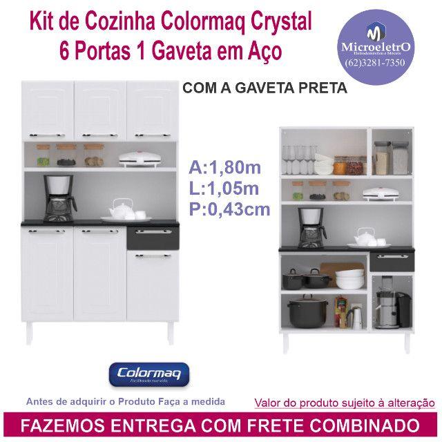Kit de Cozinha Colormaq Crystal  6 Portas 1 Gaveta em Aço Branco