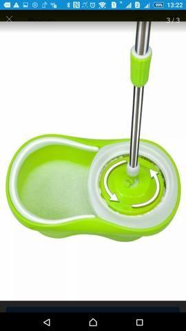Kit balde verde spin Mop 360 centrífuga em inox com Esfregão +3refil grátis