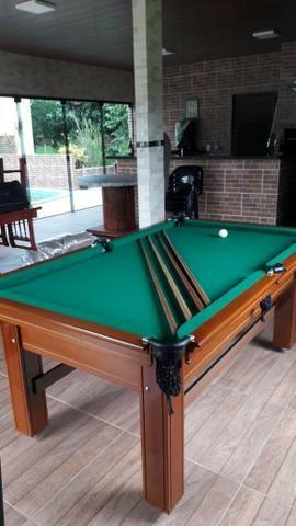 Mesa Tentação de 4 Pés Cor Imbuia Tecido Verde Mod. ZLGA1227 - Foto 3