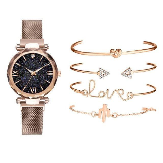 Conjunto De Relógio Feminino Luxo Com 4 Pulseiras Folheadas a ouro - Foto 4