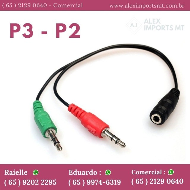 Cabo Adaptador P3 Fêmea Para 2 P2 Macho - Microfone