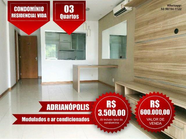 Apartamento Semi mobiliado com 3 quartos, 2 vagas, Adrianópolis,Condomínio Vida