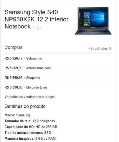 Samsung S40, intel M5, 256GB ssd, 8GB de Ram, tela quad HD 12