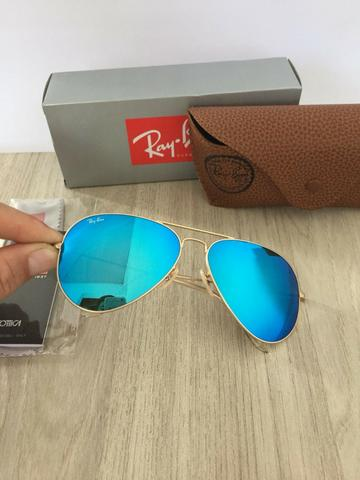 779bc3726 Óculos de sol ray ban RB3026 aviador azul claro - Bijouterias ...
