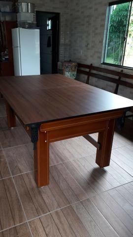 Mesa Tentação de 4 Pés Cor Imbuia Tecido Verde Mod. ZLGA1227 - Foto 2