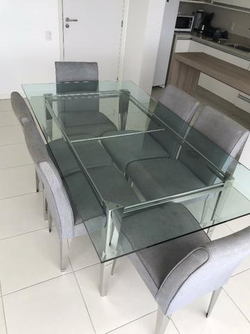 Mesa de Inox e tampo de Cristal com 6 cadeiras