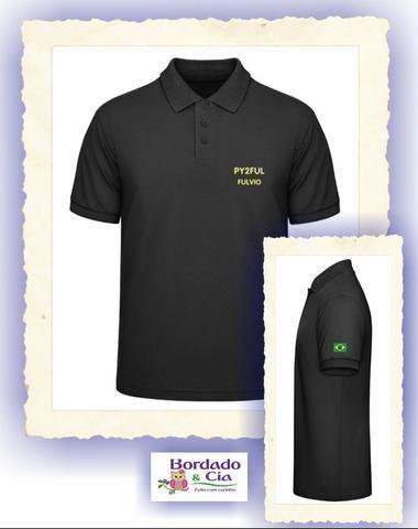 4ee3102293 Camisa Polo Masculina para Radioamador com Bordado Indicativo + Nome +  Manga com Bandeira