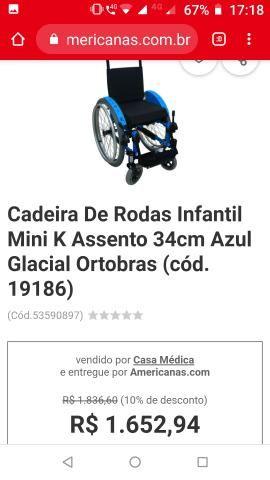 Cadeira de rodas alumínio ortomix infantil - Foto 3