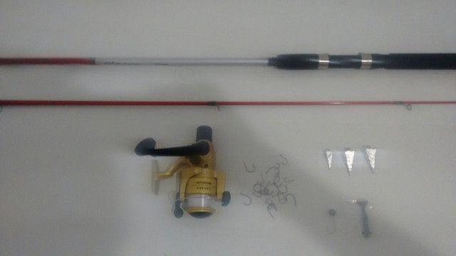 Kit completo vara de pesca linha Morinete e brinde - Foto 4