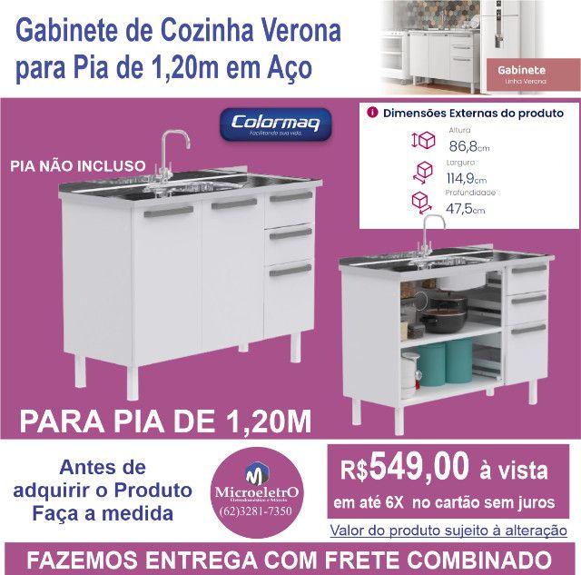 Gabinete de Cozinha Colormaq verona para Pia  de 1,20m em Aço