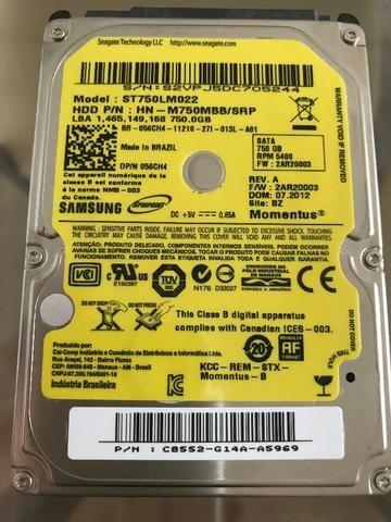 HD Para Notebook 750GB Sata 5.400 RPM