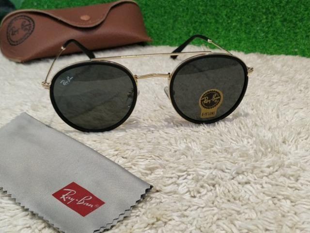 Óculos Ray Ban Round Double dourado com lentes preta - Bijouterias ... b33c84af70085